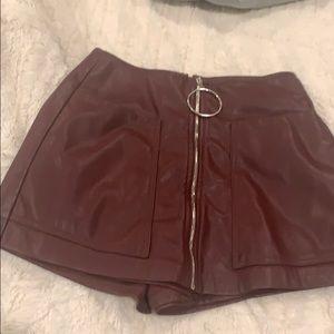 Bershka plum leather skort xs